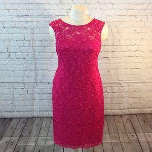 Calvin Klein formal pink lace-over dress w back V